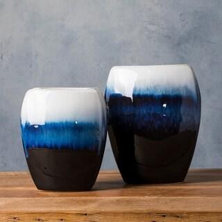Marike Blue Ceramic Modern Decorative Vase (Set of 2)