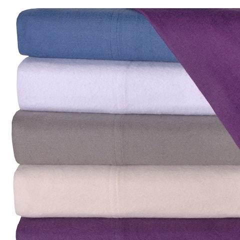 Kotter Home Deep Pocket Flannel Solid Color Sheet & Pillowcase Set