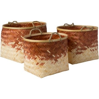 Ovidio Camel Natural Fiber Modern Decorative Basket (Set of 3)
