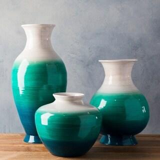 Liane Teal Natural Fiber Modern Decorative Vase