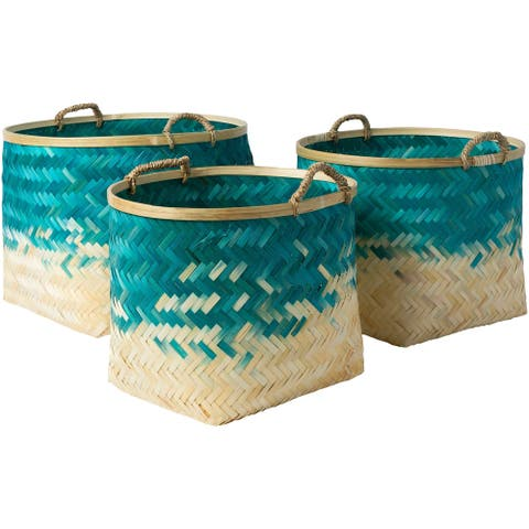 Ovidio Teal Natural Fiber Modern Decorative Basket (Set of 3)