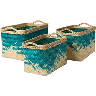 Matvei Teal Natural Fiber Modern Decorative Basket (Set of 3)