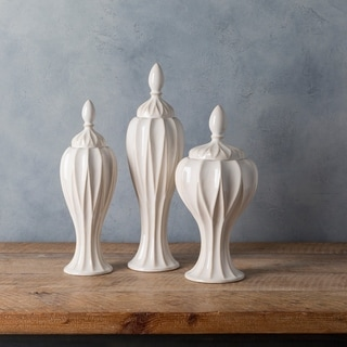 Adrastos White Modern Ceramic Decorative Jar (Set of 3)