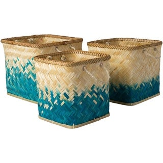 Tavish Teal Natural Fiber Modern Decorative Basket (Set of 3)