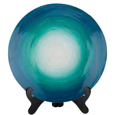 "Daley Teal Wood/Natural Fiber Modern 21.7"" Decorative Plate"