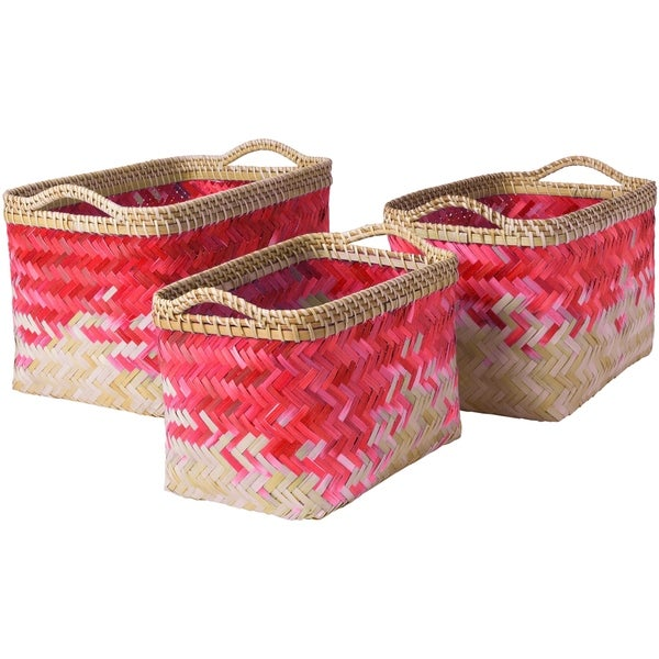 Matvei Bright Pink Natural Fiber Modern Decorative Basket (Set of 3)