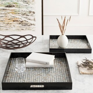 Chisomo Black Glam Mother of Pearl Decorative 2-Piece Tray Set