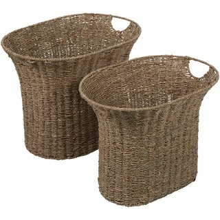 Brigita Natural Seagrass Bohemian Decorative Basket (Set of 2)