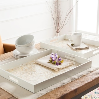 Avest White Glam Mother of Pearl Decorative 2-Piece Tray Set