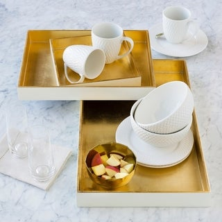 Jahoda White Glam Decorative 3-Piece Tray Set