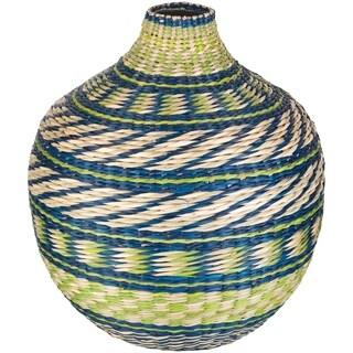 "Aglae Lime Natural Fiber Bohemian 12"" Decorative Vase"