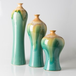Agnese Teal Ceramic Modern Decorative Vase (Set of 3)