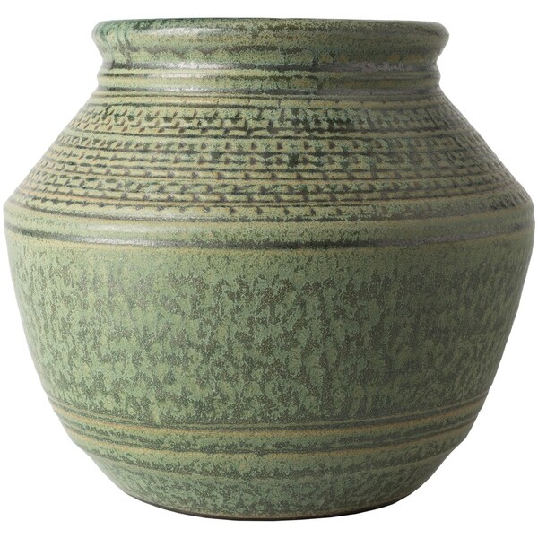 Shop Edite Green Ceramic Traditional Decorative Vase On Sale