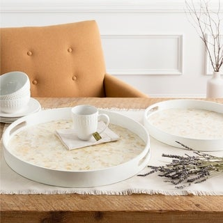 Yeva White Glam Mother of Pearl Round Decorative 2-Piece Tray Set