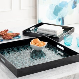 Chisomo Teal Global Mother of Pearl Decorative 2-Piece Tray Set