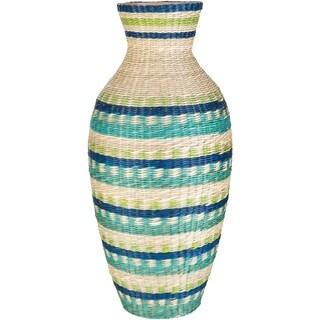 "Cait Teal Natural Fiber Bohemian 22"" Decorative Vase"