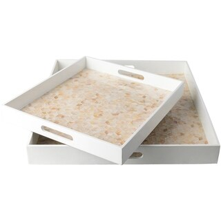 Chisomo White Glam Mother of Pearl Decorative Tray (Set of 2)