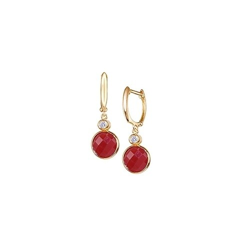 Carnelian Coin And Diamond Hoop Earrings