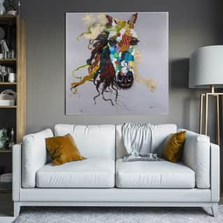 """Yosemite Home Decor """"Horse of an Abstract Color"""" Original Hand-Painted Wall Art - multi"""