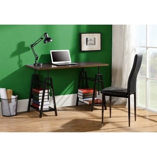 Homestar Distressed Mocha Metal Height Adjustable Desk