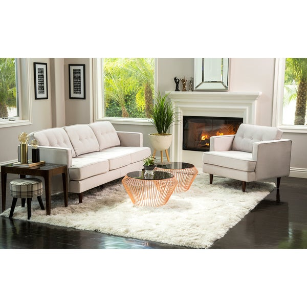 Abbyson Clinton Mid Century Tufted 2 Piece Living Room Set