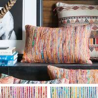 Textured Multi Stripe Throw Pillow or Pillow Cover 13 x 21