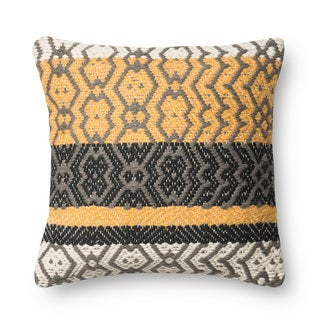 Woven Gold/ Grey Geometric 18-inch Throw Pillow or Pillow Cover