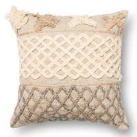 Beige Braided Applique 18-inch Throw Pillow or Pillow Cover