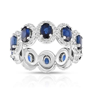 Noray Designs 14K White Gold Oval Blue Sapphire & Diamond (0.90 Ct, G-H Color, SI2-I1 Clarity) Eternity Ring|https://ak1.ostkcdn.com/images/products/18227258/P24367858.jpg?impolicy=medium