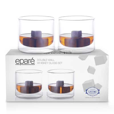 Epare Insulated Whiskey Glasses 9oz - 2 Double Wall Low Ball Tumblers