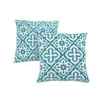 """Pillow - 18""""X 18"""" / Teal Motif Design / 2Pcs"""