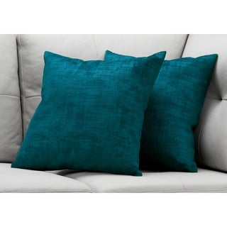"Pillow - 18""X 18"" / Turquoise Brushed Velvet / 2Pcs"