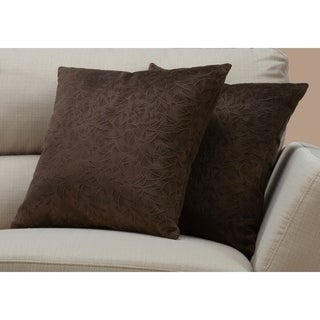 "Pillow - 18""X 18"" / Dark Brown Floral Velvet / 2Pcs"