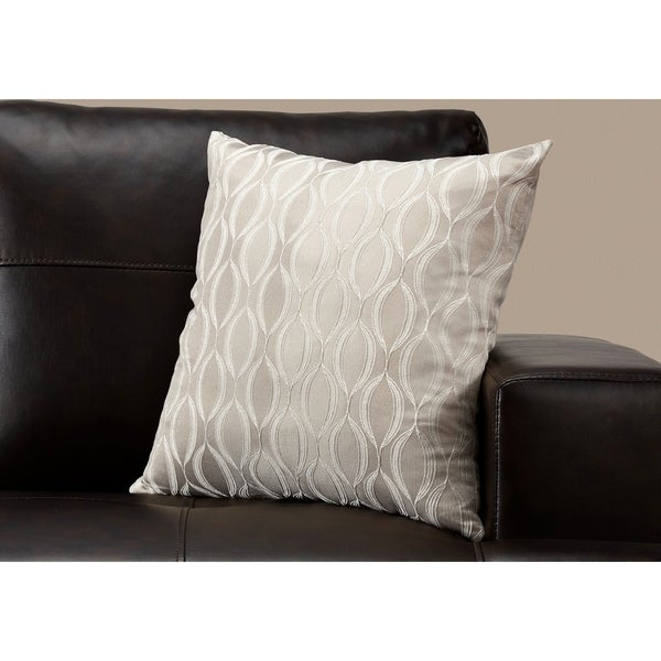 """Pillow - 18""""X 18"""" / Taupe Wave Pattern / 1Pc"""