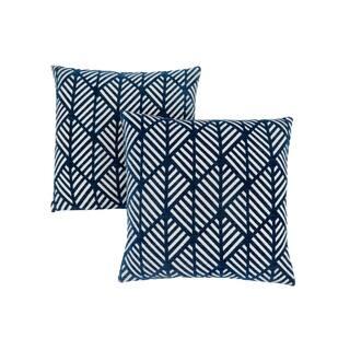 "Pillow - 18""X 18"" / Dark Blue Geometric Design / 2Pcs|https://ak1.ostkcdn.com/images/products/18227417/P24367993.jpg?impolicy=medium"