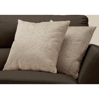 """Pillow - 18""""X 18"""" / Taupe Floral Velvet / 2Pcs"""