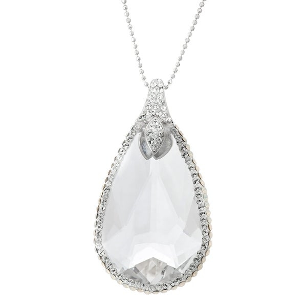 63be207ce297b Isla Simone Rhodium Plated 925 Sterling Silver Clear Teardrop Pendant  Necklace