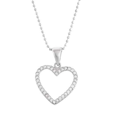 Isla Simone Silver Open Heart Pendant with CZ stones