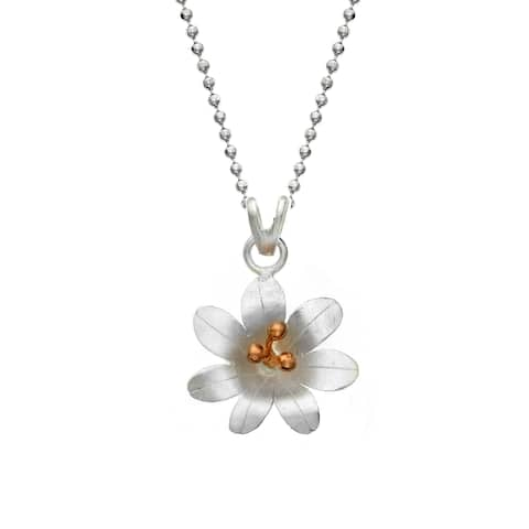 Isla Simone Gold and Silver Plated Rose 7 Petal Flower Pendant