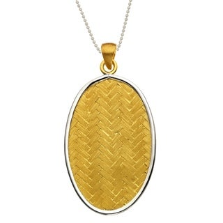 Isla Simone Gold and Silver Plated Sterling Oval Drop Woven Basketweave Pendant with Chain