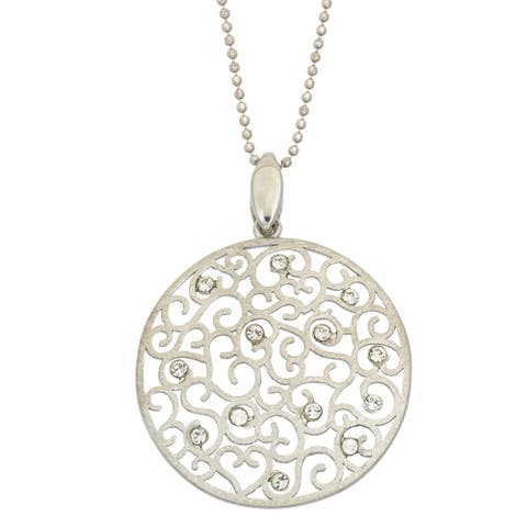 Isla Simone 14K Gold, Rose Gold, or Rhodium Plated Silver Etched Crystal Pendant Necklace