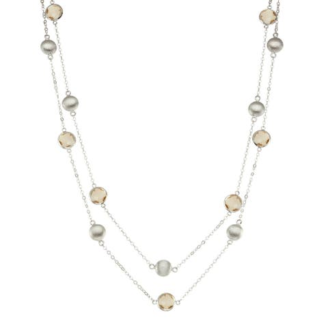 Isla Simone Silver Bezel Necklace with Silver Stations and Round Gemstones