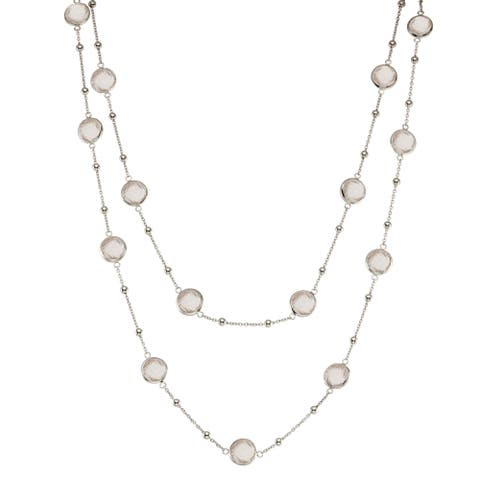 Isla Simone Silver Bezel Necklace with Small Silver Stations and Round Gemstones