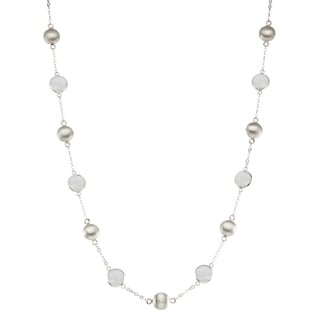 Isla Simone Silver Bead And Bezel Short Necklace With Stations And Round Gemstones