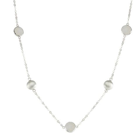 Isla Simone Silver Bezel 16 inches Necklace with Silver Stations and Round Gemstones