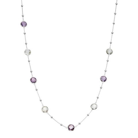 Isla Simone Silver Bezel Necklace With Small Silver Stations amd 8 Round Gemstones