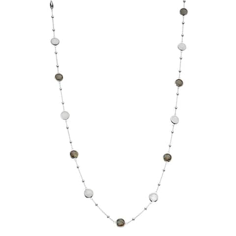 Isla Simone Silver Bezel 26 Inch Necklace With Silver Stations and Round Gemstones