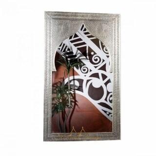 Silver Finish Hand-carved Moorish Mirror