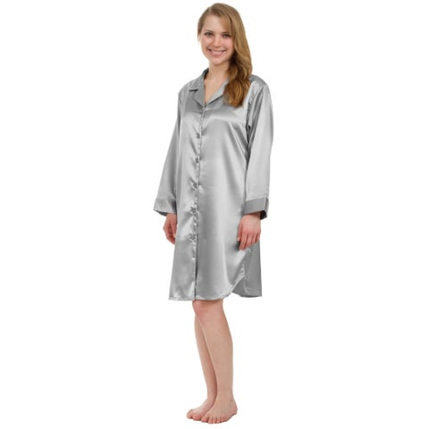 Leisureland Stretch Satin Nightshirt Boyfriend Style Sleep Shirt