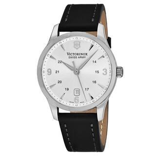 Swiss Army Men's V249034 'Alliance' Silver Dial Black Leather Strap Swiss Quartz Watch|https://ak1.ostkcdn.com/images/products/18227818/P24368334.jpg?impolicy=medium